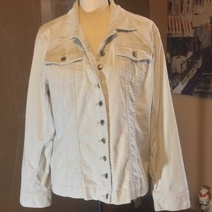 Chicos Ivory button up corduroy jacket size 2